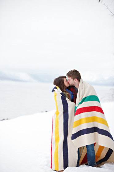 Pendleton cozy and warm engagement photography