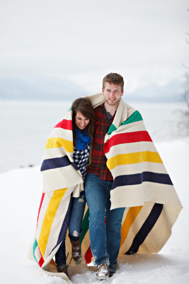 Bundled up in a Pendleton blanket cozy photography