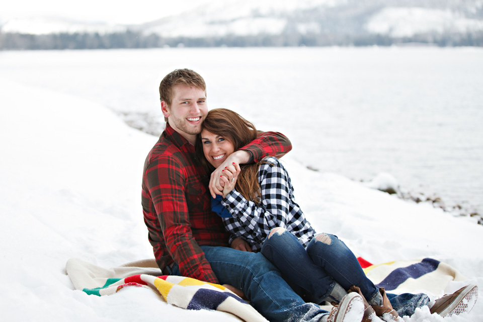 Plaid shirts for engagement session in Montana