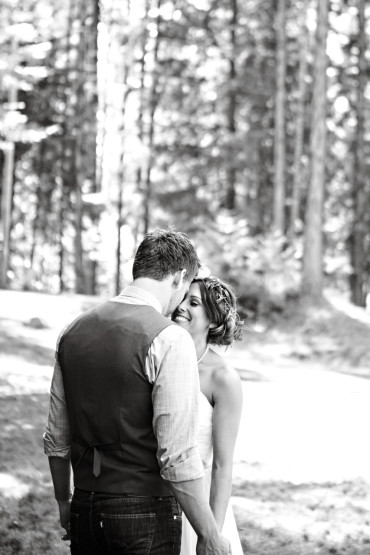 First look outdoor wedding in the woods