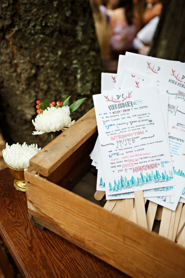 Hand made wedding day programs