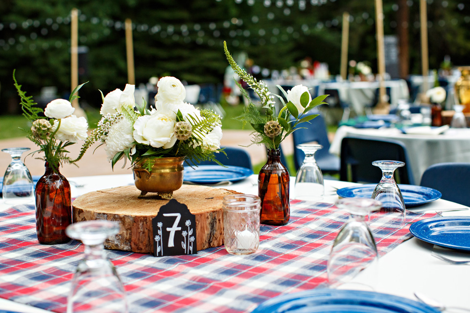 Table setting at the most beautiful outdoor wedding