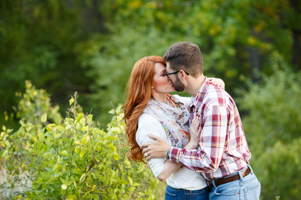 Green engagement session outdoors with natural light